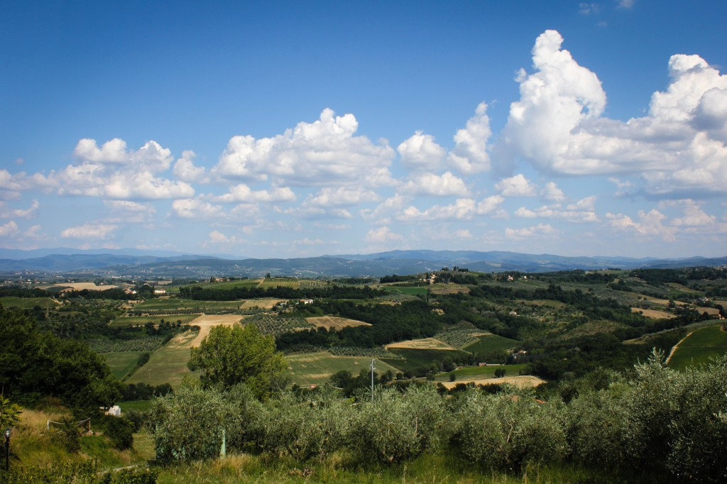 The view from our Tuscan hilltop Airbnb.